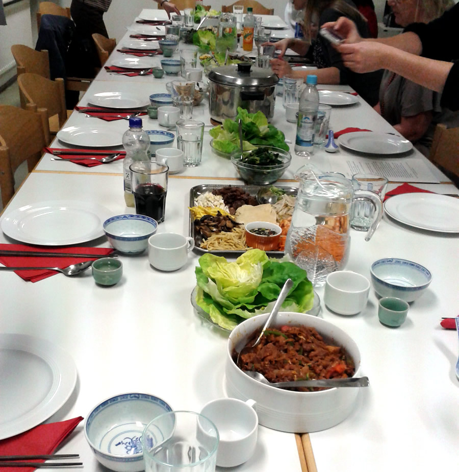 koreanischer kochkurs-gedeckter Tisch